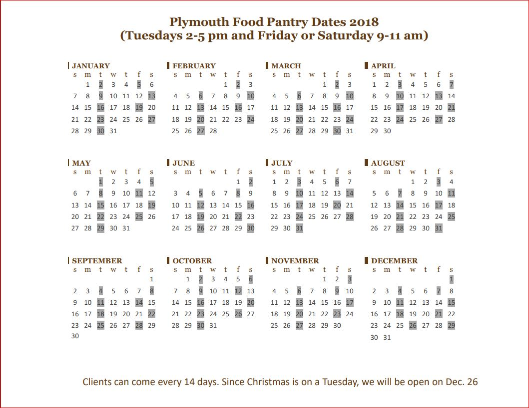 Click For NEW Hours Plymouth Food Pantry